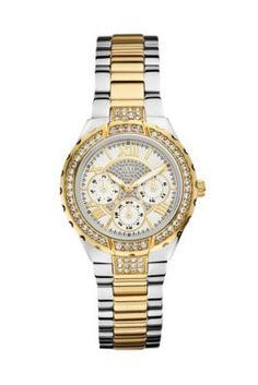 Gold and Silver-Tone Sparkling Multifunction Mixed-Metal Watch | GUESS.com