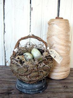 Bird Nest Basket w/EggsShabbyRusticCottage Decor by timewashed