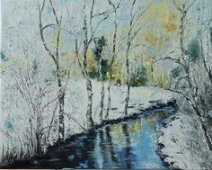 Oil painting of winter river and birch by AlinaMadanPaintings