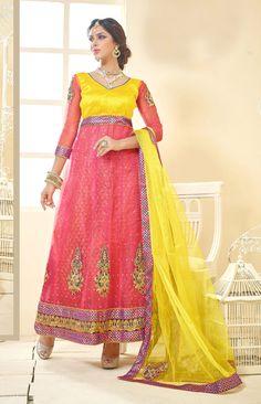 Pink Soft Net Ankle Length Anarkali Suit 61255