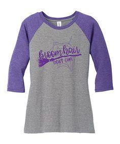 TKO tees Purple & Gray Frost Broom Hair Dont Care Raglan Tee | zulily