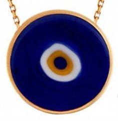 Sterling Silver Lucky Evil Eye Necklace - Double sided handmade lampworking opaque Murano glass evil eye bead. 18K gold plated over .925 sterling silver. Dimens