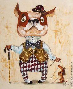 Купить Француз (батик панно) - бежевый, бульдог, французский бульдог, картина, такса, собака, Батик