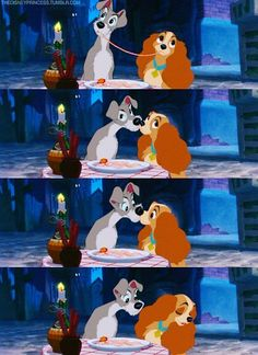 "The accidental kiss; my favorite part of the movie, ""The Lady and the Tramp""."