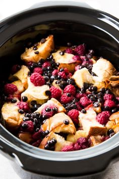 Slow Cooker Raspberry Chocolate Chip French Toast Casserole | RecipeLion.com
