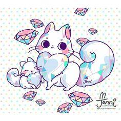 Diamonds are a girls best friend Cute Kawaii Animals, Cute Animal Drawings Kawaii, Kawaii Cat, Kawaii Anime, Cute Fantasy Creatures, Anime Animals, Cute Chibi, Cat Drawing, Cute Stickers