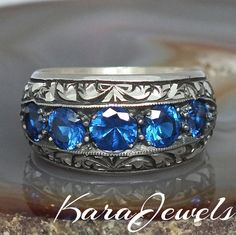 925 Sterling Silver men's ring with blue Sapphire handcrafted unique jewelry #KaraJewels #jewellery #mens #sterling #silver #ring  #handmade #sapphire #zirconia