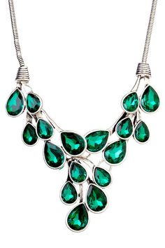 t plus j Designs Emerald Crystal Statement Necklace