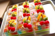 Gorgeous fruit and rainbow gelatin desserts. Maybe another jello shot option. Cute Food, Good Food, Yummy Food, Jello Recipes, Dessert Recipes, Yummy Drinks, Delicious Desserts, Mousse, Jello With Fruit