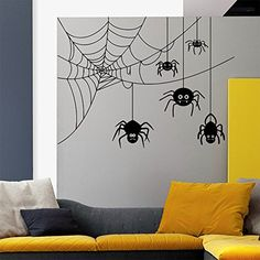 Wall Decals Halloween Spider In Web Horror Attributes Holiday Art Decor Kids Panic Room Bedroom Window Home Stickers Murals AM151 * Check this awesome product by going to the link at the image.  This link participates in Amazon Service LLC Associates Program, a program designed to let participant earn advertising fees by advertising and linking to Amazon.com.