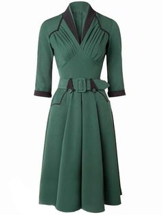 Green Stand Collar Ruched Belt Dress - shein.com - Occasion & Party Dresses
