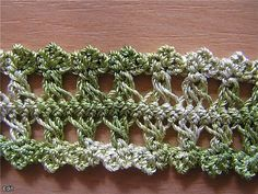 Different Hairpin Lace Crochet Hairpin Lace Patterns, Hairpin Lace Crochet, Crochet Lace Edging, Crochet Yarn, Crochet Stitches Patterns, Crochet Designs, Stitch Patterns, Broomstick Lace, Lace Making