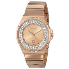 Core Rose & Crystal Dial Date Display Rose Gold Tone Stainless Steel Seiko Watch