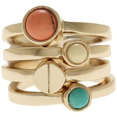 Armani Exchange Stackable Stone Rings (£23) ❤ liked on Polyvore featuring jewelry, rings, accessories, bracelets, anillos, cerulean, armani exchange, colorful jewelry, stone rings and stone jewellery