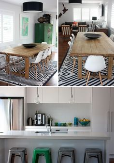 dining table + chairs + rug