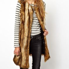 ASOS Longline Gilet In Vintage Faux Fur Beautiful, soft and long gilet in brown hues.  Worn once! Excellent condition! ASOS Jackets & Coats Vests
