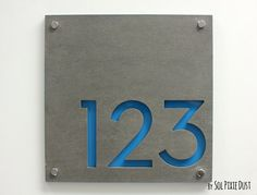 Modern House Numbers, Square Concrete with Blue Acrylic - Contemporary Home Address -Sign Plaque - Door Number