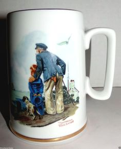 Norman Rockwell Cup Mug Looking Out To Sea Sailing Nautical Scene Vintage 1985 #Unknown