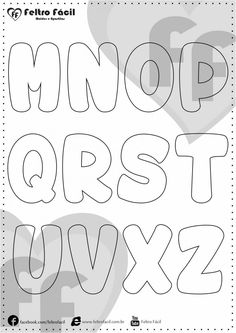 ALPHABET LETTER MOLDS - We selected here in this post some molds of alphabet letters for felt productions already edited in natural size! Quiet Book Templates, Alphabet Templates, Applique Templates, Printable Numbers, Printable Letters, Applique Letters, Letter Stencils, Alphabet And Numbers, Busy Book
