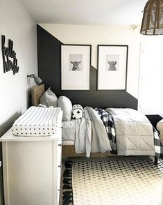 Modern Black And White Bedroom Design Ideas Bedrooms Black and white bedroom decor is extremely popular, but it does take some planning and creativity to bring your bedroom in this theme to life. You wan. Big Boy Bedrooms, Boys Bedroom Decor, Baby Boy Rooms, Cozy Bedroom, Girls Bedroom, Curtains For Boys Bedroom, Bedroom Wall, Boys Bedroom Ideas Tween, Boys Room Ideas