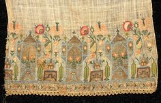 Turkish or Greek islands embroidered towel, end borders with gold and silver metallic and silk embroidery of towers and flowers, 19th c