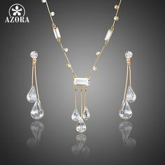 AZORA Elegant Gold Color Stellux Austrian Crystal Water Drop Earrings and Pendant Necklace Jewelry Sets TG0192