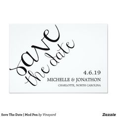 Save The Date | Mod Pen Card Matching Save the Date for Mod Pen Wedding Suite.