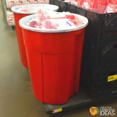 Diy Solo Cup Trashcan: Just paint your trash can red and white. Would be a cute recycling bin for parties!  :)