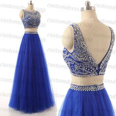 Royal blue Two Pieces long prom dress,handmade crystal/beading tulle royal blue formal women evening dress,Two Pieces wedding party dress
