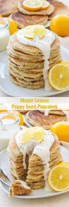 Meyer Lemon Poppy Seed Pancakes | Light, fluffy, lemony pancakes drizzled with a delicious Meyer lemon Greek yogurt sauce! Perfect for breakfast or brunch!