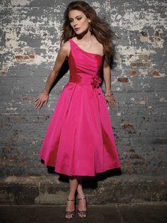 Deep pink one strap taffeta fabric tea length with a man made floral at  waist bridesmaid ef4ad980986a