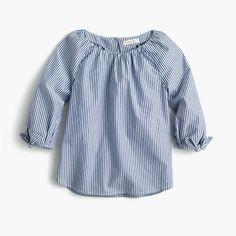 Girls' tie-sleeve top in stripe
