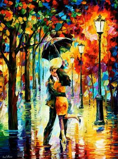 OIL ON CANVAS PAINTING DIRECTLY FROM FAMOUS ARTIST LEONID AFREMOV Title: Dance under the rain Size: 30 x 40 (75cm x 100cm) Condition: Excellent Brand new Gallery Estimated Value: $18,500 Type: Original Recreation Oil Painting on Canvas by Palette Knife This is a recreation of a piece which was already sold. The recreation is 100% hand painted by Leonid Afremov using oil paint, canvas and palette knife. Its not an identical copy , its a recreation of an old subject. This recreation will ha...