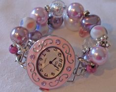 Pink Mauve and Lavendar Beaded Watch Band and Pink by BeadsnTime, $30.00