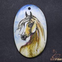 Scrimshaw Pendant  Carved Hand Painted Horse  Rubber Stamp ZL20928 #ZL #Pendant