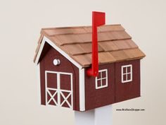 Amish made wooden mailbox with a raw cedar shake roof and plastic corner, window, and door trim. Available in 12 color combinations as shown. Wooden Mailbox, Diy Mailbox, Mailbox Ideas, Birdhouse Ideas, Exterior Grade Plywood, Amish Barns, Cedar Roof, Cedar Shakes, Amish Furniture