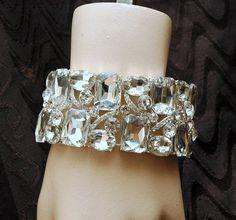 Art Deco Bridal Crystal Bracelet  Vintage by AyansiWeddingDesigns