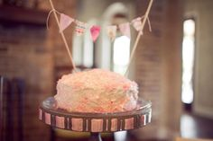 Pink Smash Cake with Bunting - #projectnursery