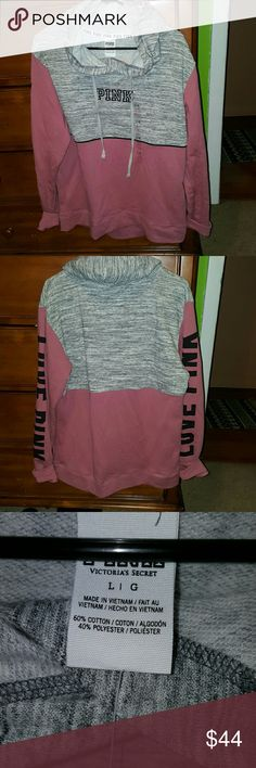 NWT PINK VS PULLOVER HOODIE Pink rose and Heather grey  color block. Fits slightly oversized.  Love pink in black on back of sleeves. PINK Victoria's Secret Sweaters
