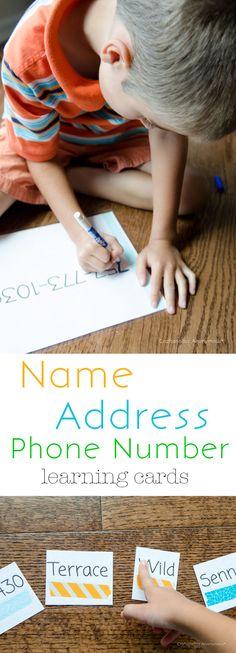 Make Kindergarten prep cards- Name, Address, Phone number to help teach Preschoolers.