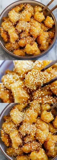 Honey Sesame Chicken – Best-ever and easiest honey sesame chicken recipe with chicken, sticky sweet and savory honey sauce with sesame | rasamalaysia.com.   For more great pins go to @KaseyBelleFox