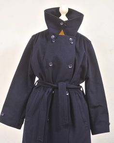 70s wool BAVARIA Loden Navy TRENCH
