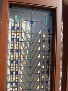 Antique Arts and Crafts Craftsman Stained Glass Leaded Glass Windows Door Panels
