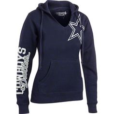 Women s Dallas Cowboys Nike Navy Logo Wrap Tri-Blend V-Neck Long ... f0df91fe8