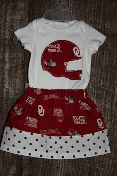 OU Oklahoma University Outfit. A certain baby girl will be getting this very soon. I can't wait for him to see the pictures of her in it!