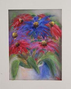 pastel painting pastellmaal lilled floral coneflowers päevakübar Keiu Kuresaar