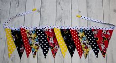 Beautifully hand crafted fabric flag bunting for special occasions and home décor.  This listing is for the bunting/banner Only. Coordinating Onesie skirt set sold separately. https://www.etsy.com/listing/280368096/minnie-mouse-skirt-girl-minnie-mouse?ref=shop_home_feat_3  Flags are sewn from 100% Premium Cotton fabric. Fabric has been pre washed and preshrunk to avoid additional shrinkage. Each flag is double sided and all seams are beautifully finished and...