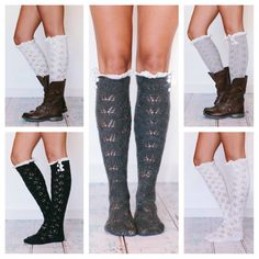 Knitted Boot Socks Lace Trim Ladies Lace Socks by ThreeBirdNest, $22.99