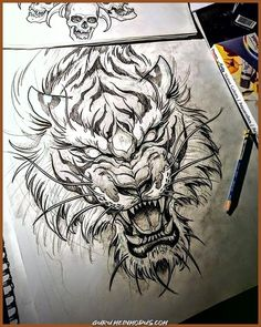 Tiger Tattoo - Madhusudan Kale Tiger Tattoo Source You are in the right place about Illustrations wa Irezumi Tattoos, Leg Tattoos, Body Art Tattoos, Sleeve Tattoos, Tattoos For Guys, Small Tattoos, Dragon Tattoos, Geisha Tattoos, Marquesan Tattoos
