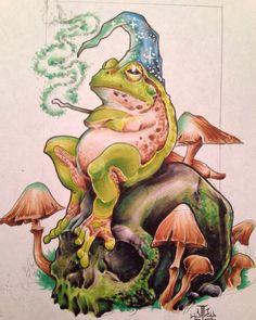 Wizard of Frog by Jeff Ensminger Resurrection Tattoo, Austin TX Mushroom Art, Frog Tattoos, Graffiti, Drawings, Fantasy Art, Hippie Art, Frog Illustration, Frog Art, Wizard Tattoo